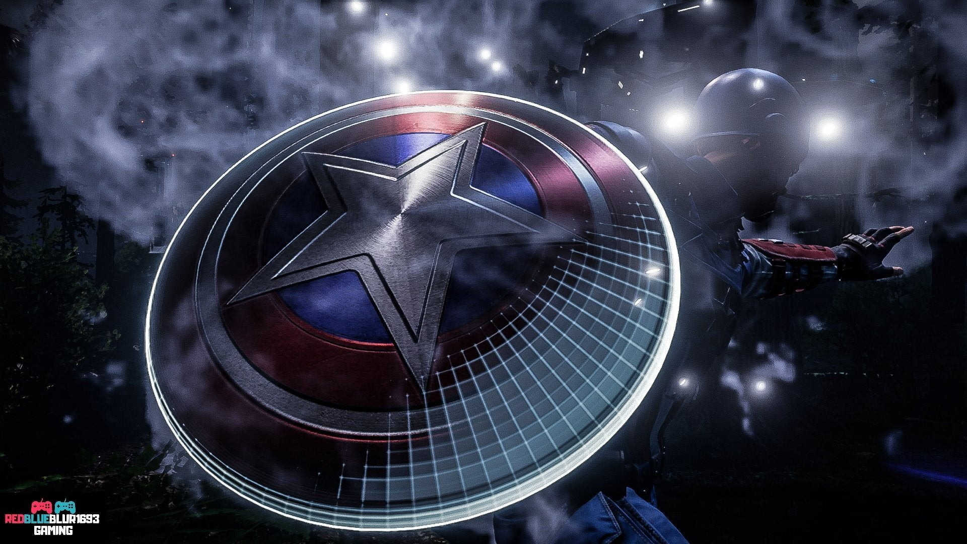 A close-up of Captain America's shield with circular stripes and a star emblazoned in the center