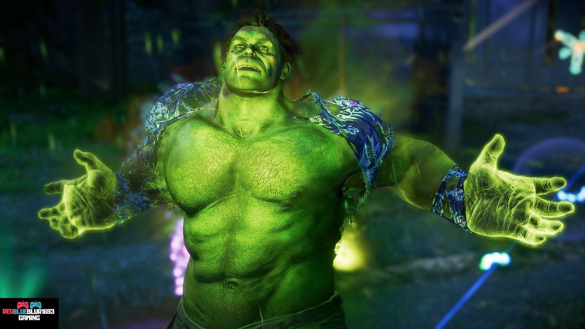 Hulk wearing his Hawaiian shirt