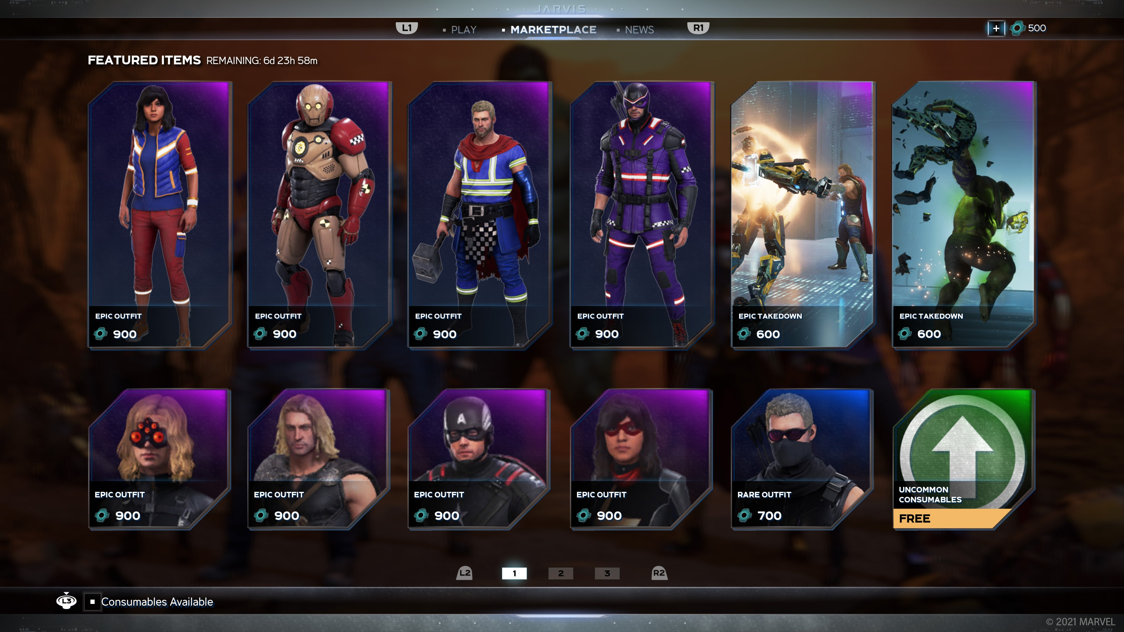 A screenshot of our in-game marketplace where players can purchase cosmetics