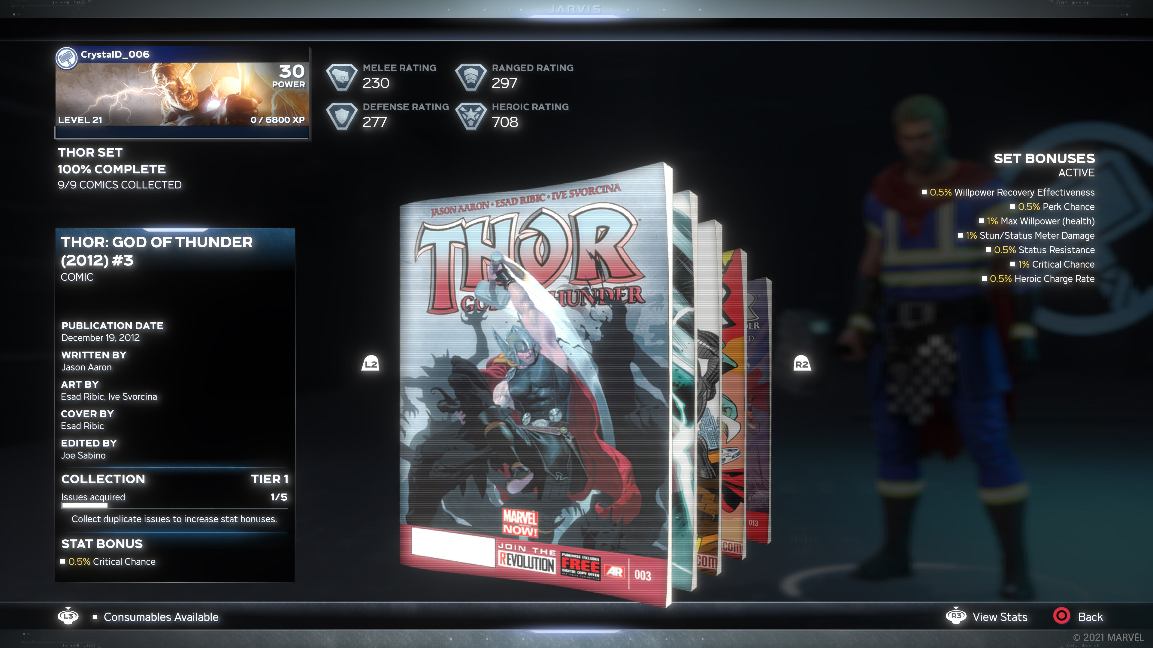 A screenshot of our in-game comic book collectible. This one features Thor, swinging his hammer at his enemies.