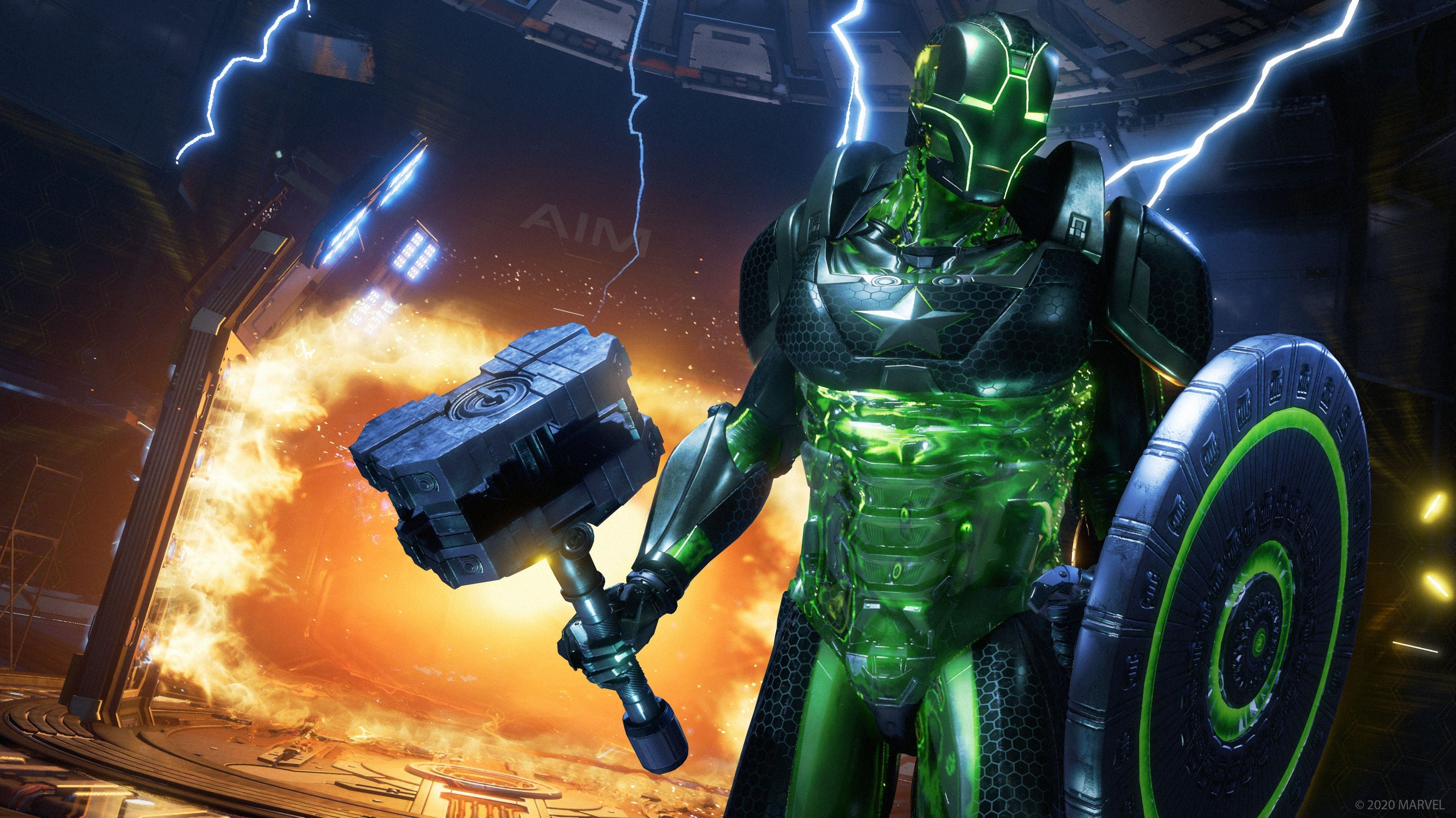 A screenshot of a Super Adaptoid. He wears Iron Man's mask, Thor's hammer, and Captain America's shield