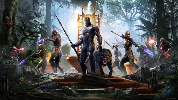 T'challa se para al pie de un trono vestido con su traje de Pantera Negra.  Una pantera real acecha a su lado, lista para luchar contra los matones de Klaw que los rodean en la jungla con armas de fuego.