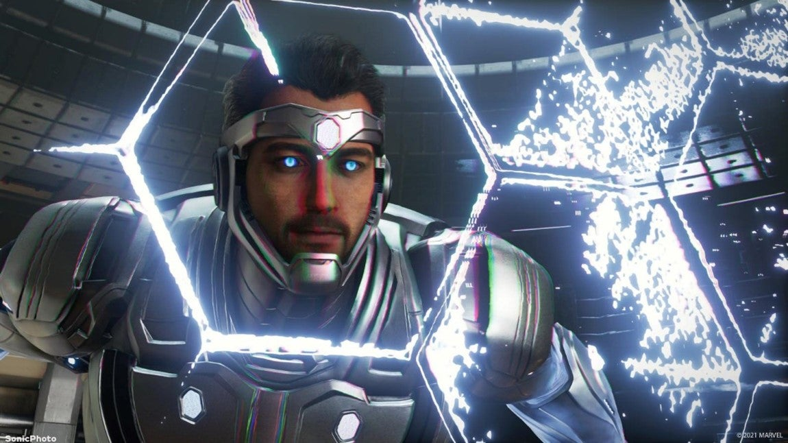 A screenshot of Tony Stark in his Superior Iron Man suit, which is made of a shiny metallic alloy and constructed with a metal band that stretches across his forehead.