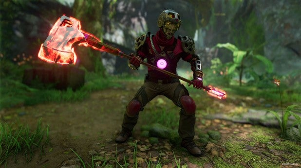 A screenshot of a Klaue Company Bruiser, armored in red and metallic gear and wielding an oversized battle axe.
