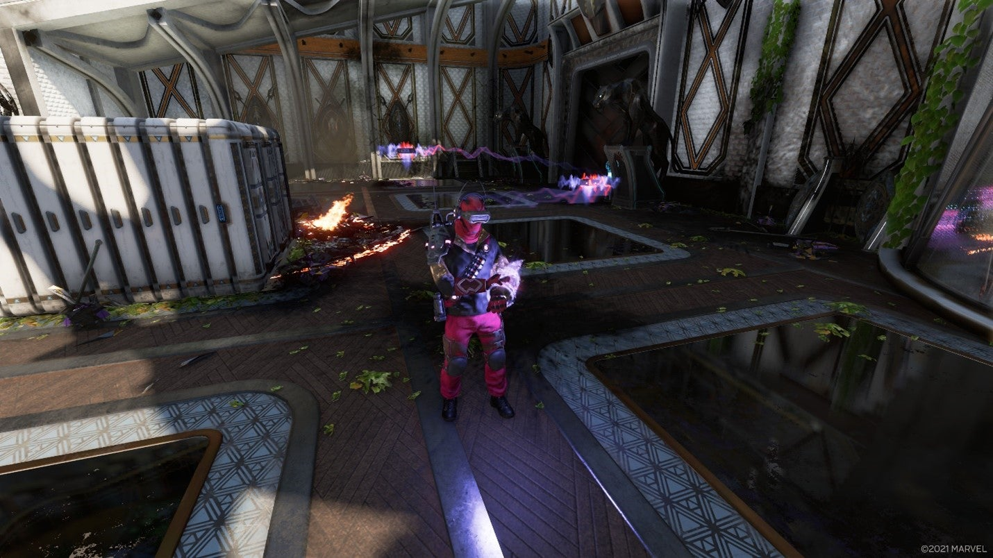 A screenshot of an armored, techy Klaue Company Strategist, which controls drones that fly around Heroes and debuff them!