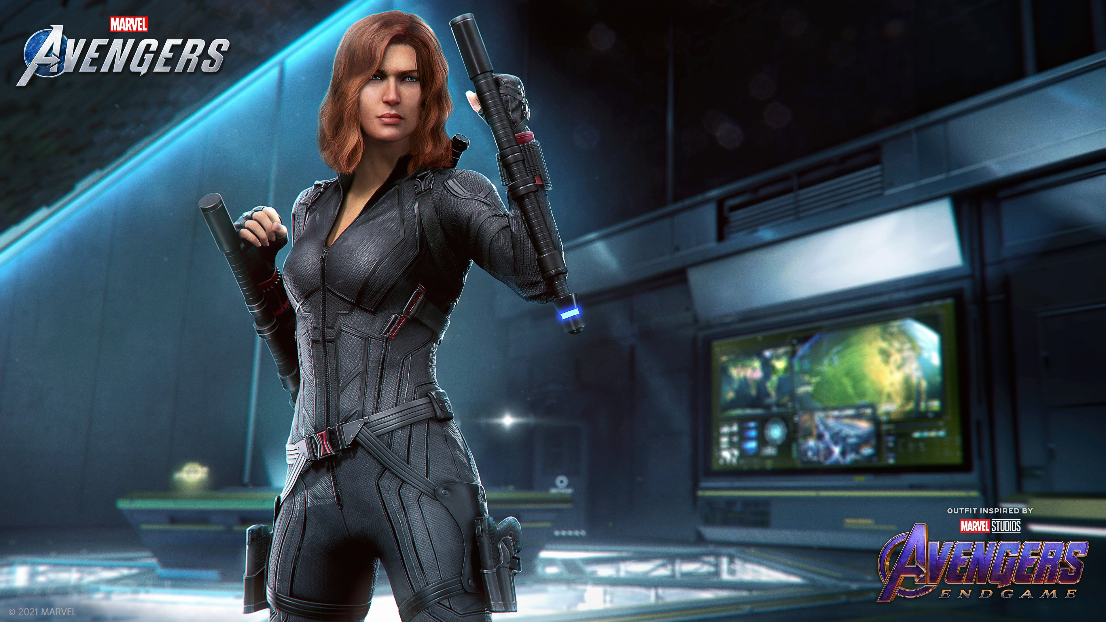 Concept art of Black Widow in her Marvel Studios' Avengers Endgame Outfit. She's wearing a black tactical zip-up suit, and her belt has her iconic Black Widow emblem - a red hourglass - on the buckle. She holds up her signature batons - she's ready for a fight.