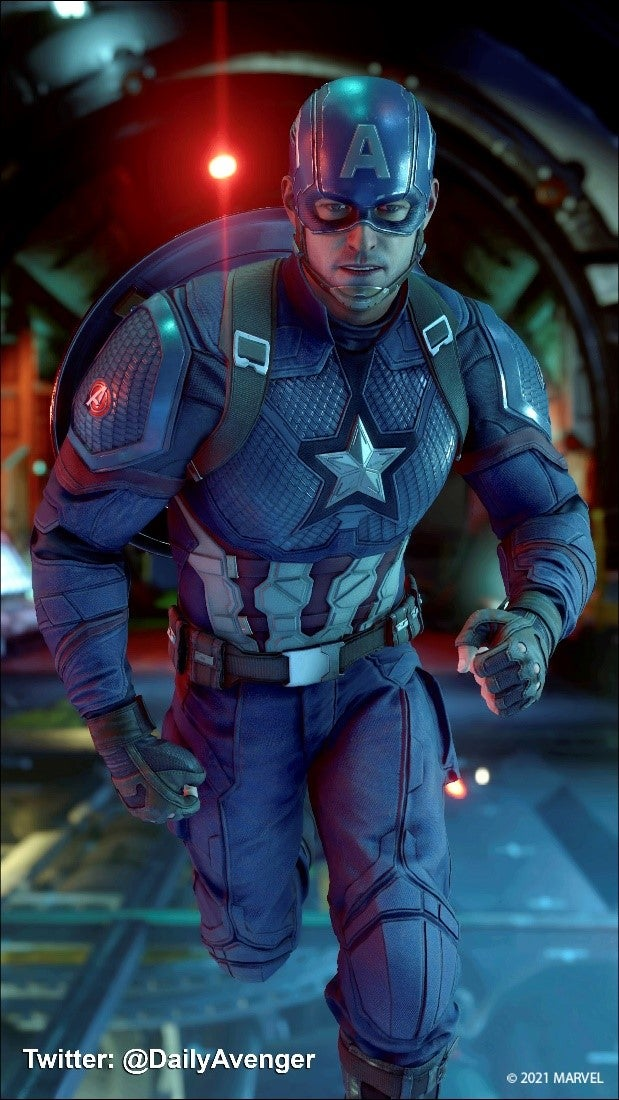 A fan screenshot of Captain America from Twitter user @DailyAvenger. It depicts Captain America in his Marvel's Avengers red, white and blue/stars and stripes outfit, racing down the hall of an underwater AIM facility.