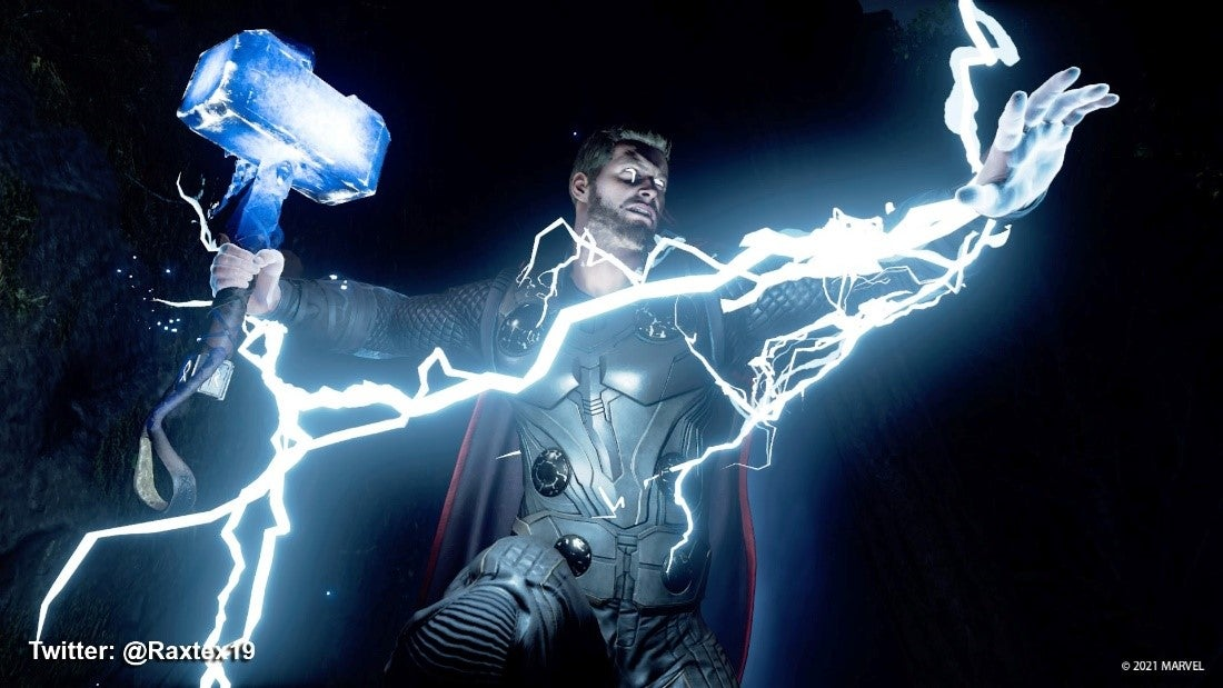 A fan screenshot of Thor submitted by Twitter user Raxtex19. It depicts Thor surrounded by lightning, eyes white with energy, leaping into a dark sky.