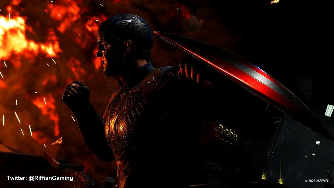 A fan screenshot of Captain America submitted by Twitter user @RiffianGaming. It shows Captain America, shield in hand, staring down a great fire.