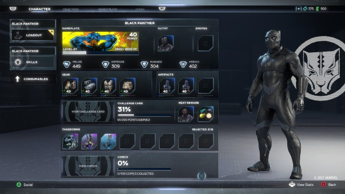 A screenshot of our new in-game character menu that unifies all of our character tabs onto a single screen. This screen features Black Panther.