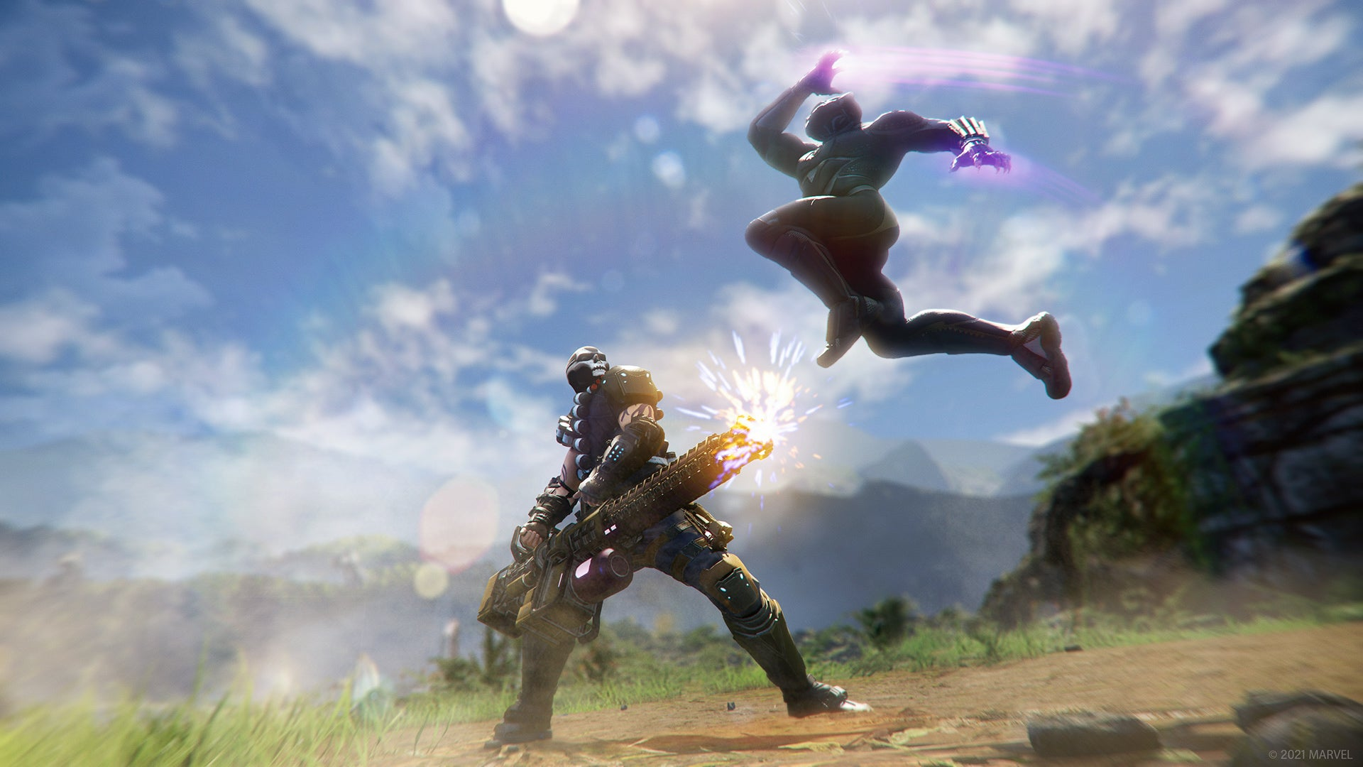 A screenshot showing Black Panther locked in battle with Klaw's head lieutenant, Crossbones. Crossbones uses two hands to wield a giant Gatling gun, which he's firing at Black Panther. Black Panther, meanwhile, is leaping above the spray of bullets, kinetic energy built up in his palms as he prepares to pounce down on his foe.