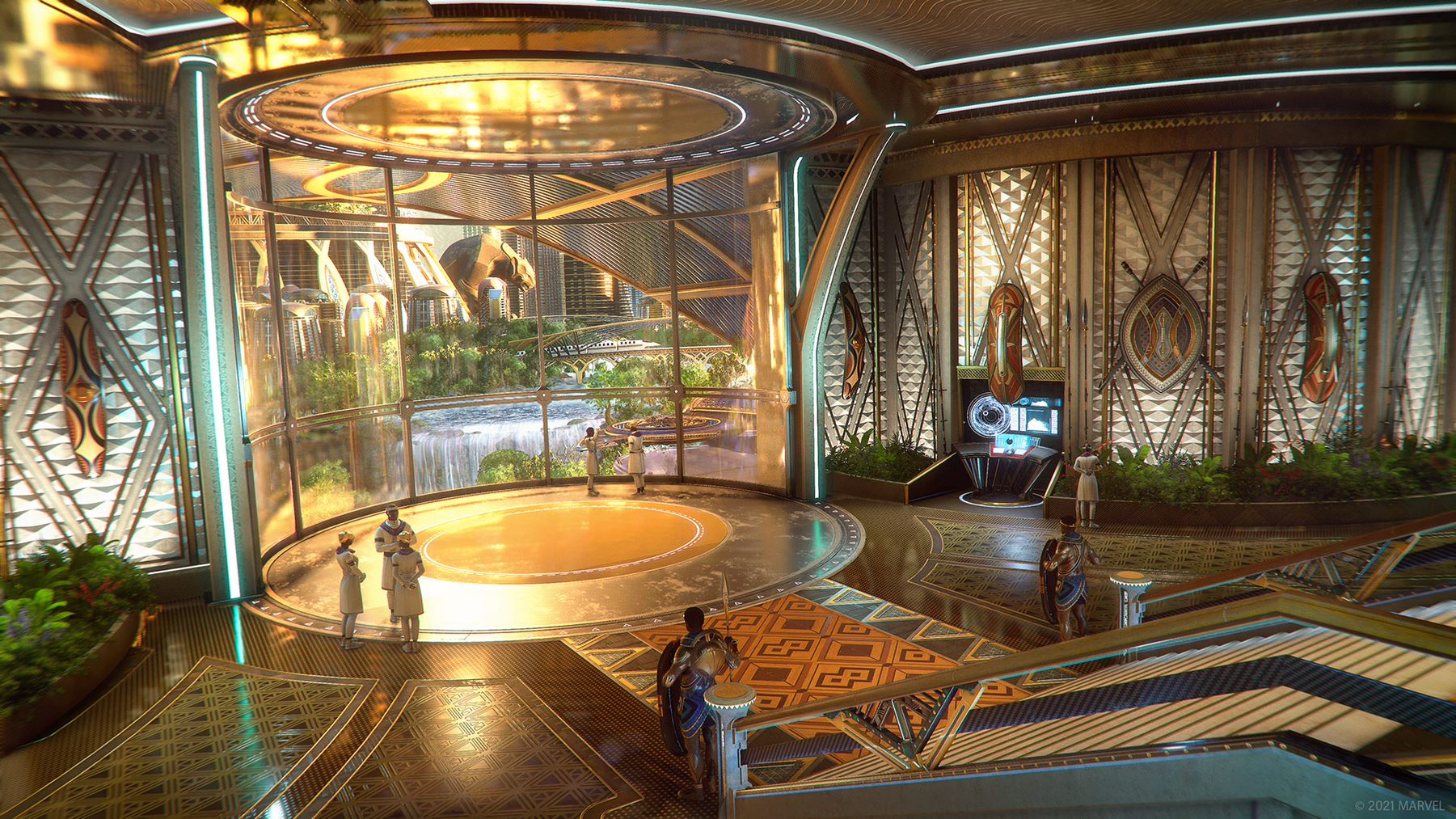 Concept art of our new Outpost in Wakanda's capital city, Birnin Zana. It features a large, circular atrium, the floors inlaid with gold. Tribal artifacts hang on the walls. A glass window looks out at the city - a waterfall is seen off in the distance. Two armored guards stand at the ready at the base of a staircase.