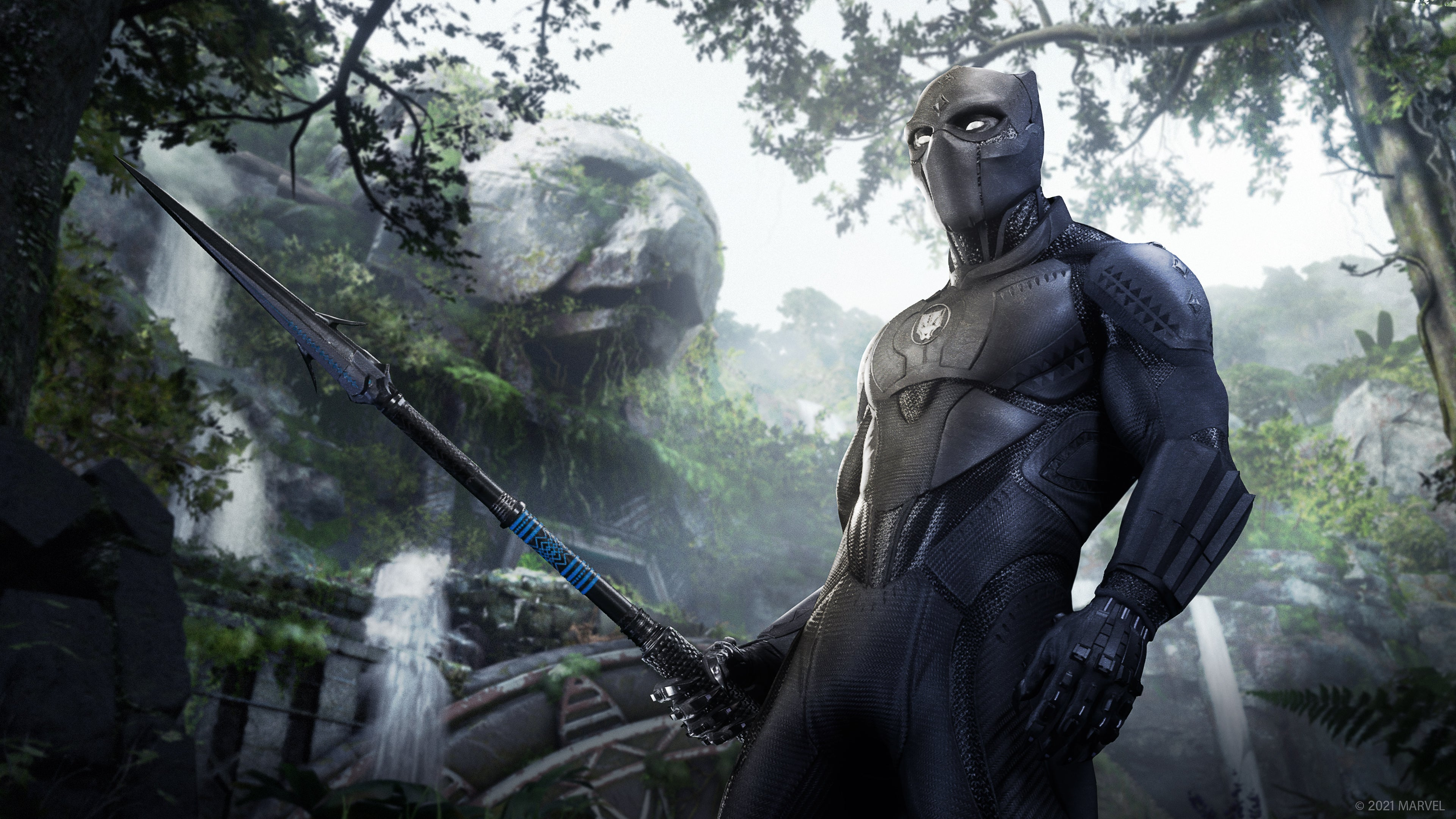 Concept of Black Panther, standing at the base of a ruined temple. The head of a giant panther is carved into the top of the temple, cutting out of the jungle brush. Waterfalls pour down the sides of the ruins. Black Panther looks off into the jungle, armed with his trust spear.