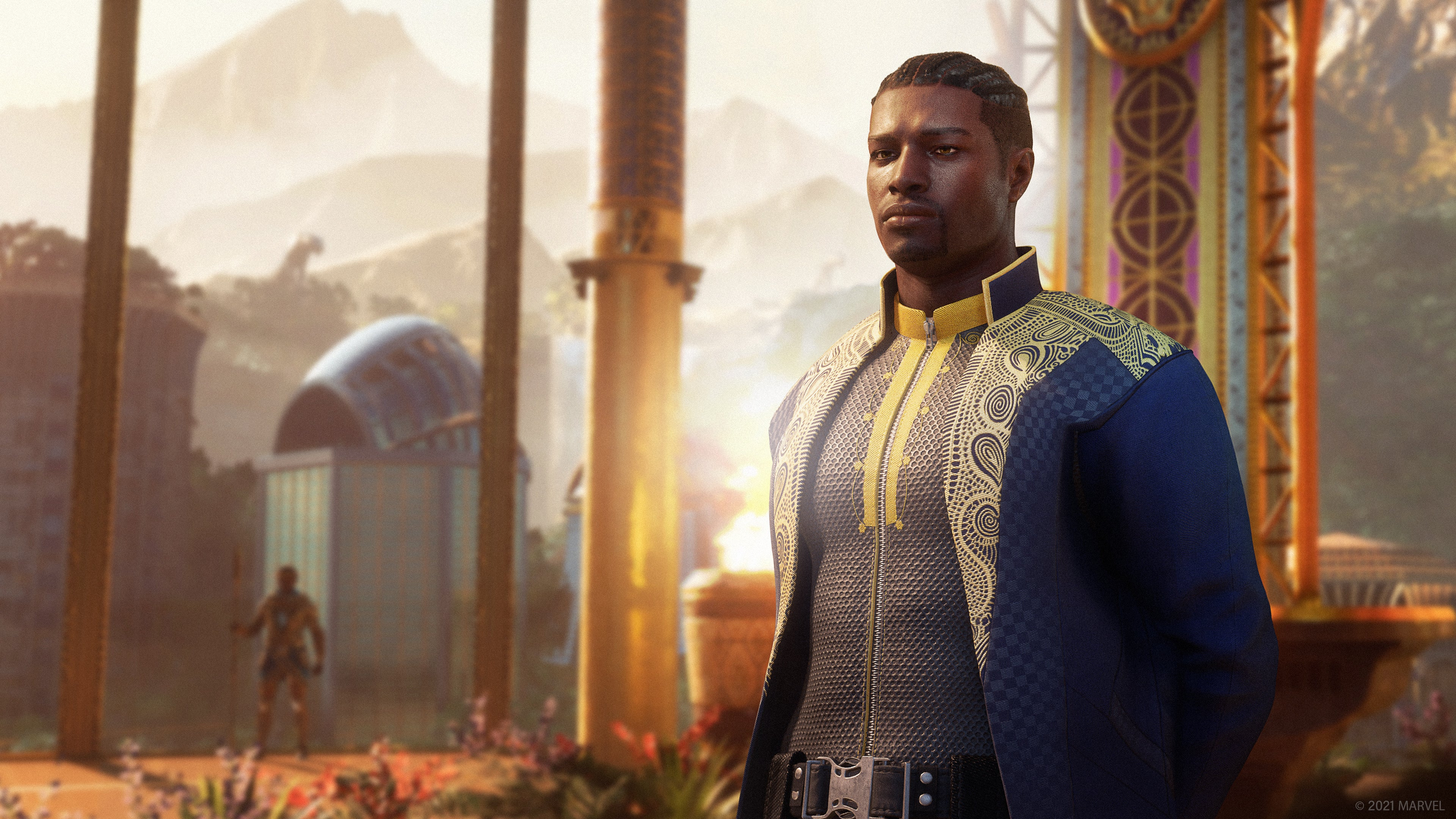 This concept art shows T'Challa standing in his throne room in the capital city of Wakanda, Birnin Zana. Everything is gleaming in gold, including the fabric of his regal blue robes.