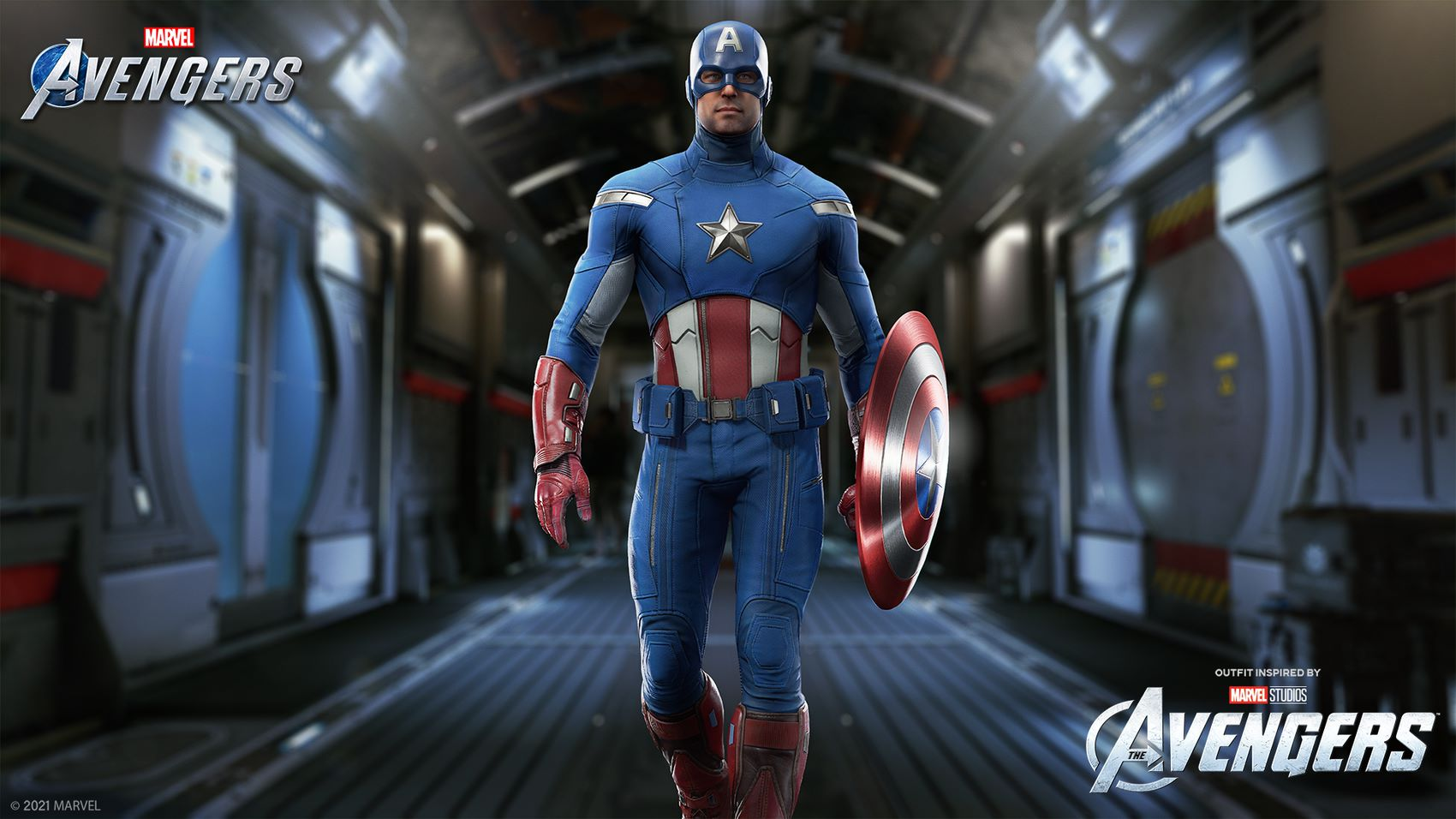 A beauty shot of our new Outfit for Captain America, inspired by his look in Marvel Studio's The Avengers film.