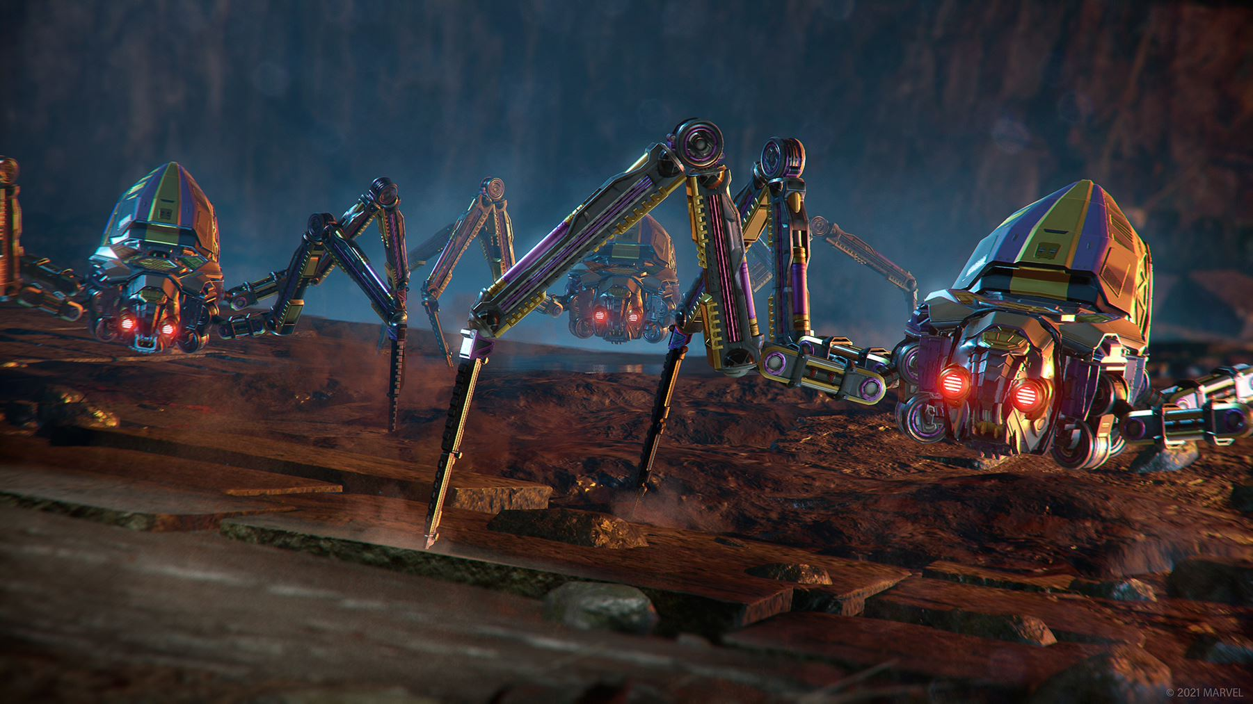 Concept art of Klaue's arachnid-like Scout Crawlers. They each have four knife-sharp legs and glowing red eyes. They approach our Heroes from the recesses of a Wakandan cave.