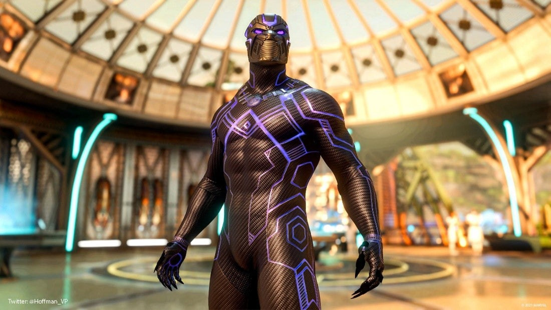 A Community screenshot featuring Black Panther in a black suit run with lines of purple kinetic energy, and glowing red eyes. He stands in the circular, light-filled, golden Wakandan War Room. Lab technicians are blurred out in the background, milling about the chamber. A large glass dome looms overhead.