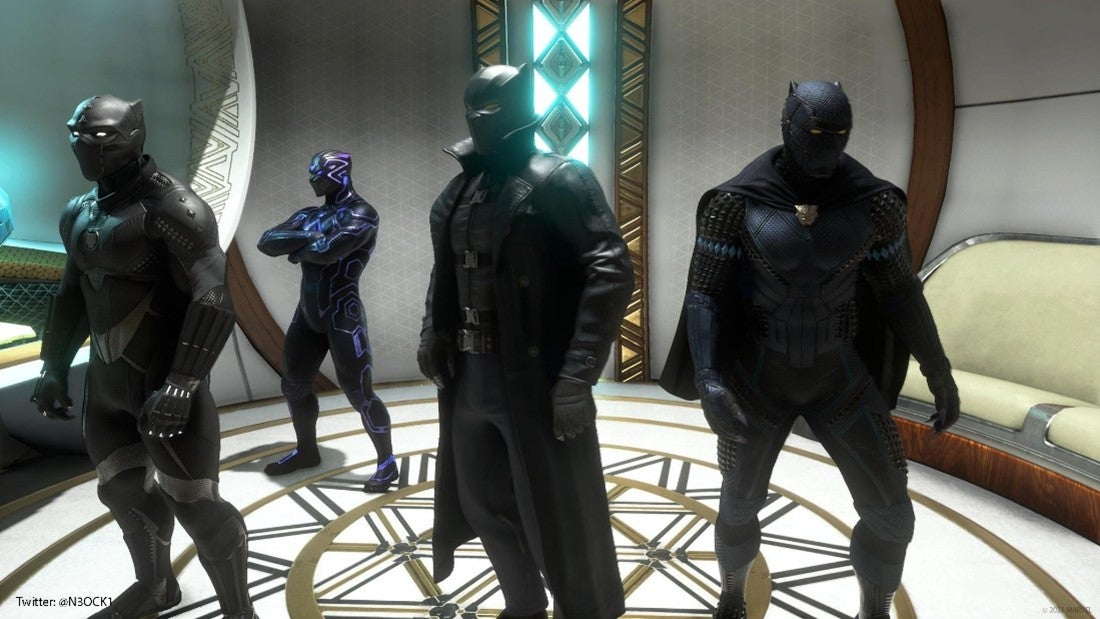 A Community screenshot of four players, each dressed as Black Panther in a different black outfit, standing idly by in a white and gold elevator. One of the outfits has a cape. One has a trench coat. And one is pulsating with purple kinetic energy.