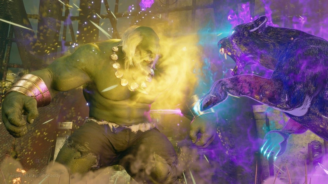 Maestro stands his ground, an aura of gamma radiation around him, as the purple and black spectral form of the panther goddess Bast pounces at him in his arena ruins. Maestro looks like the Hulk - large, green, massive.