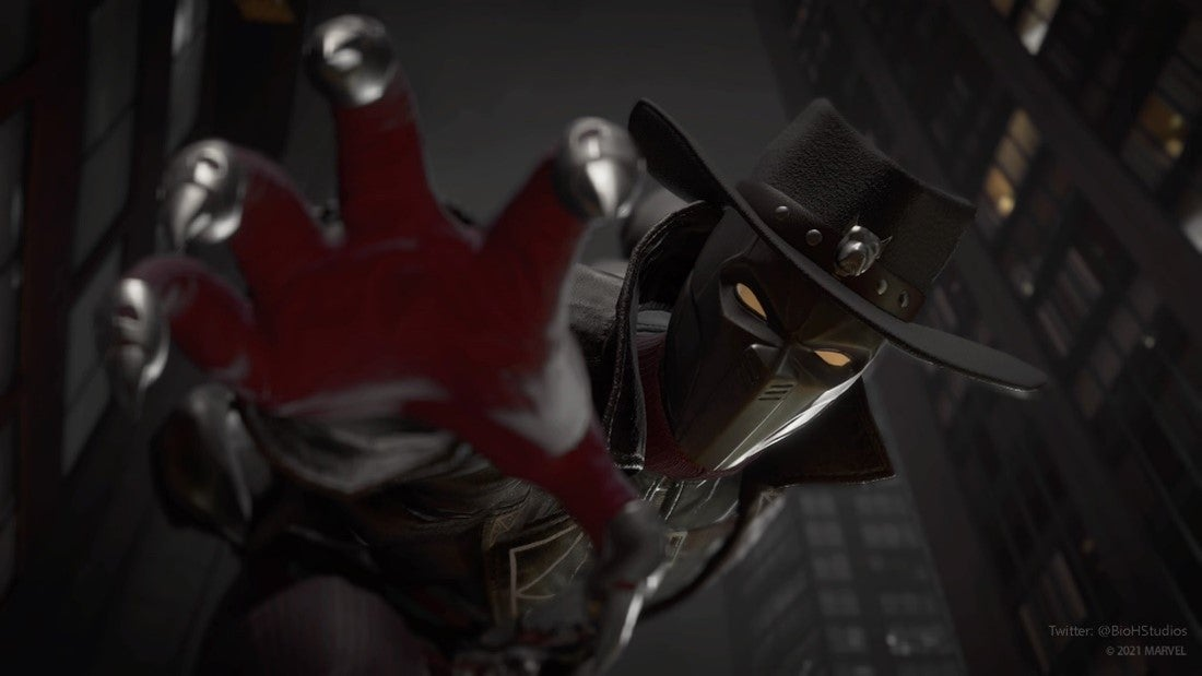 A screenshot of Black Panther. He's in a city, the claws of his Vibranium suit outstretched, as if reaching toward you in the frame. He wears a black fedora, and his trench coat stands up menacingly around his neck. Skyscrapers tower above him in the background.