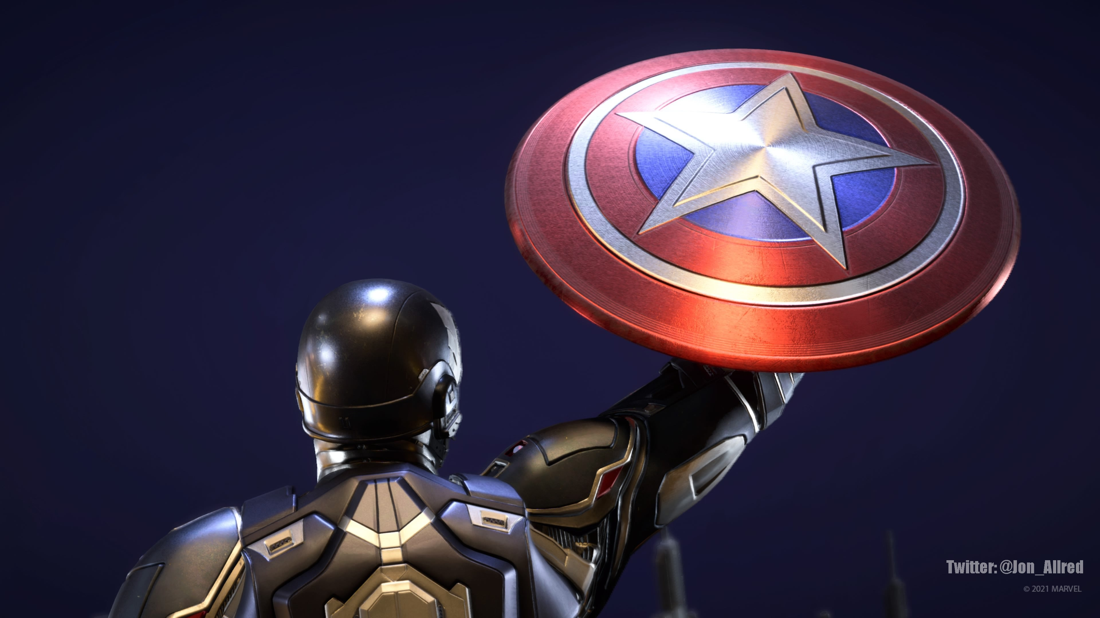 Una captura de pantalla del Capitán América mientras levanta su escudo hacia un cielo de color azul oscuro. El escudo tiene círculos concéntricos de color rojo y blanco. En el centro hay una estrella brillante.