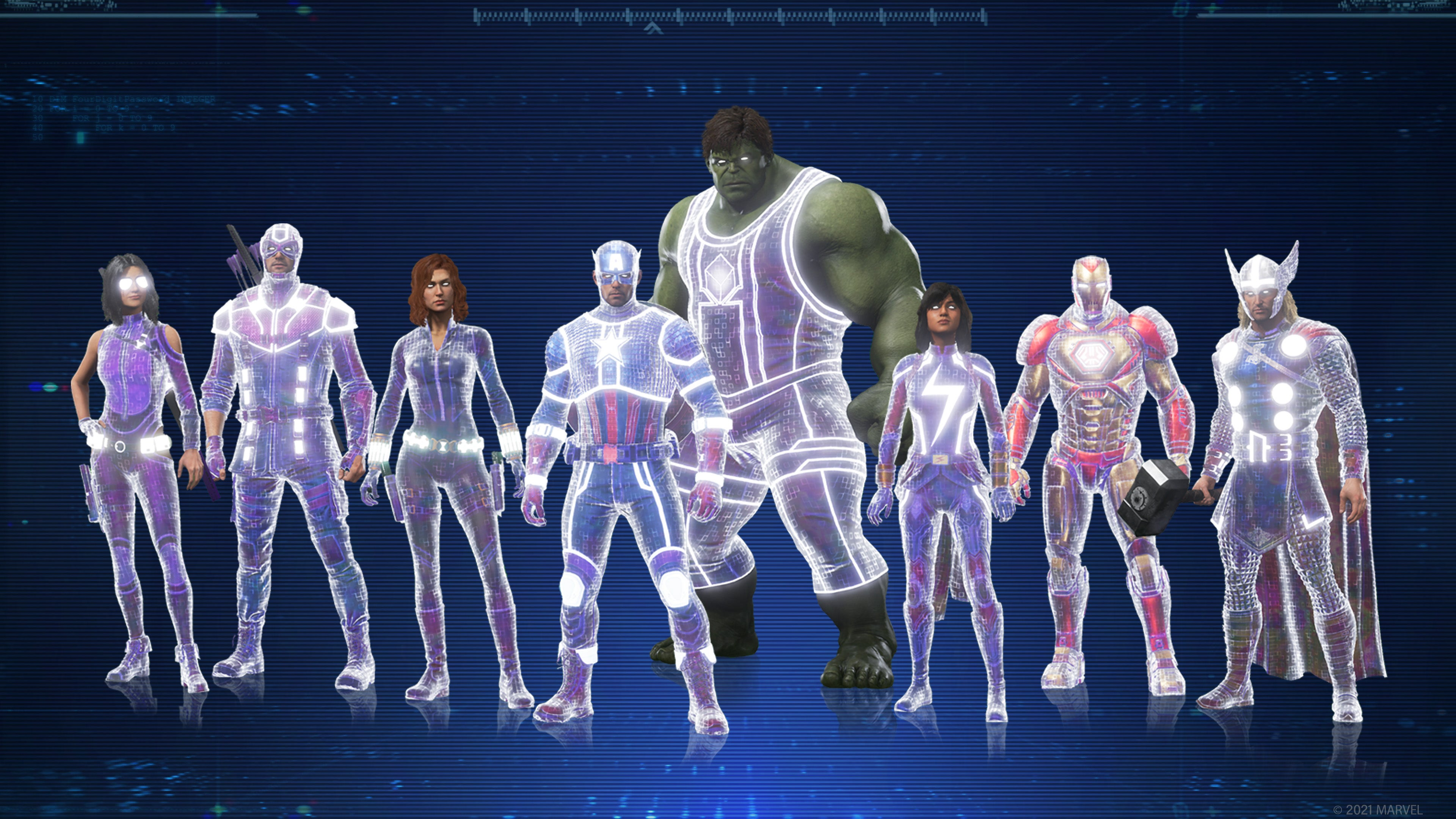 A screenshot of all of our Heroes lit up with cosmic energy. The outlines of all of their Outfits glow white, as if humming with energy.