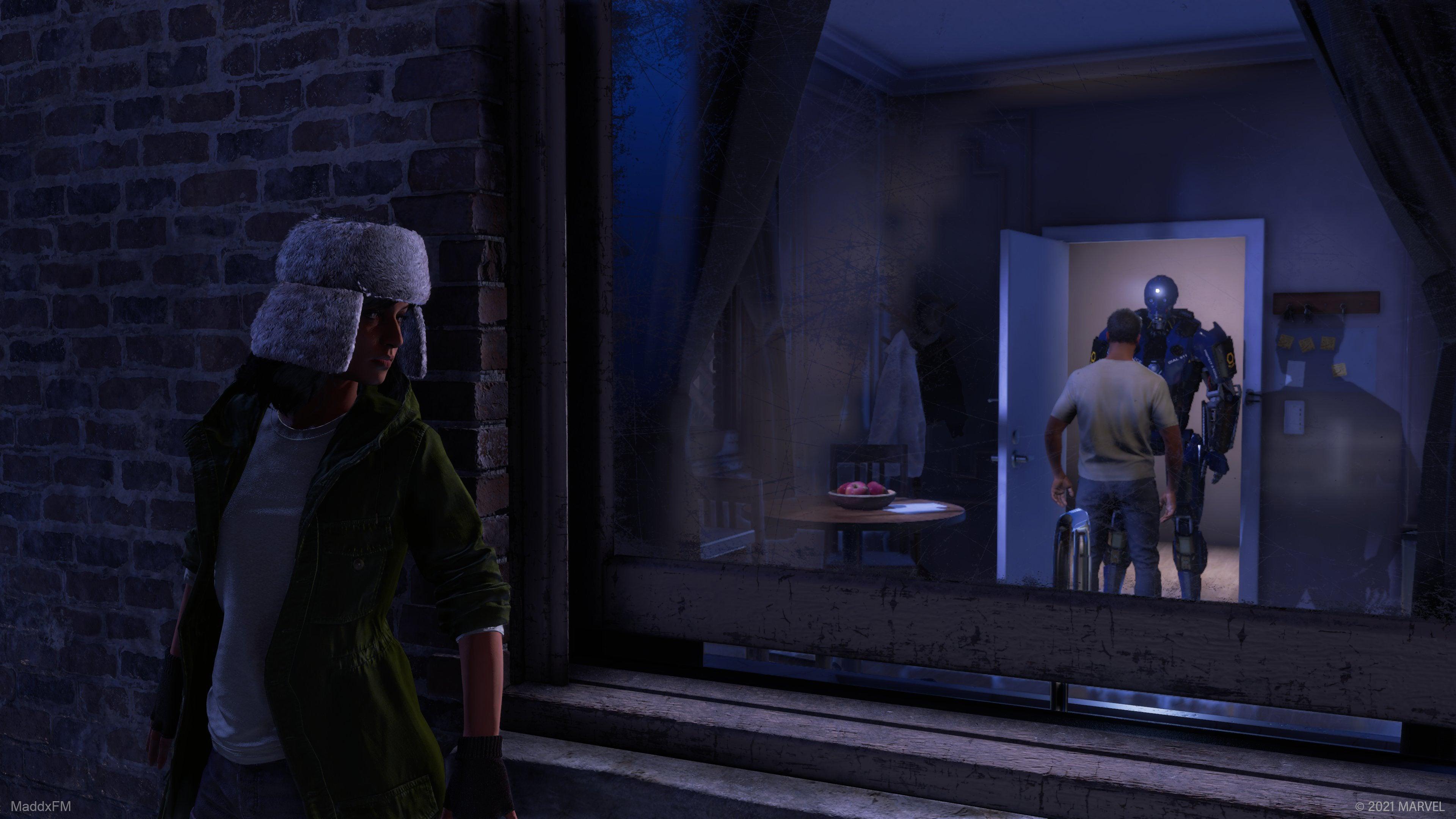 kamala khan lurks outside a window on the ledge of a building