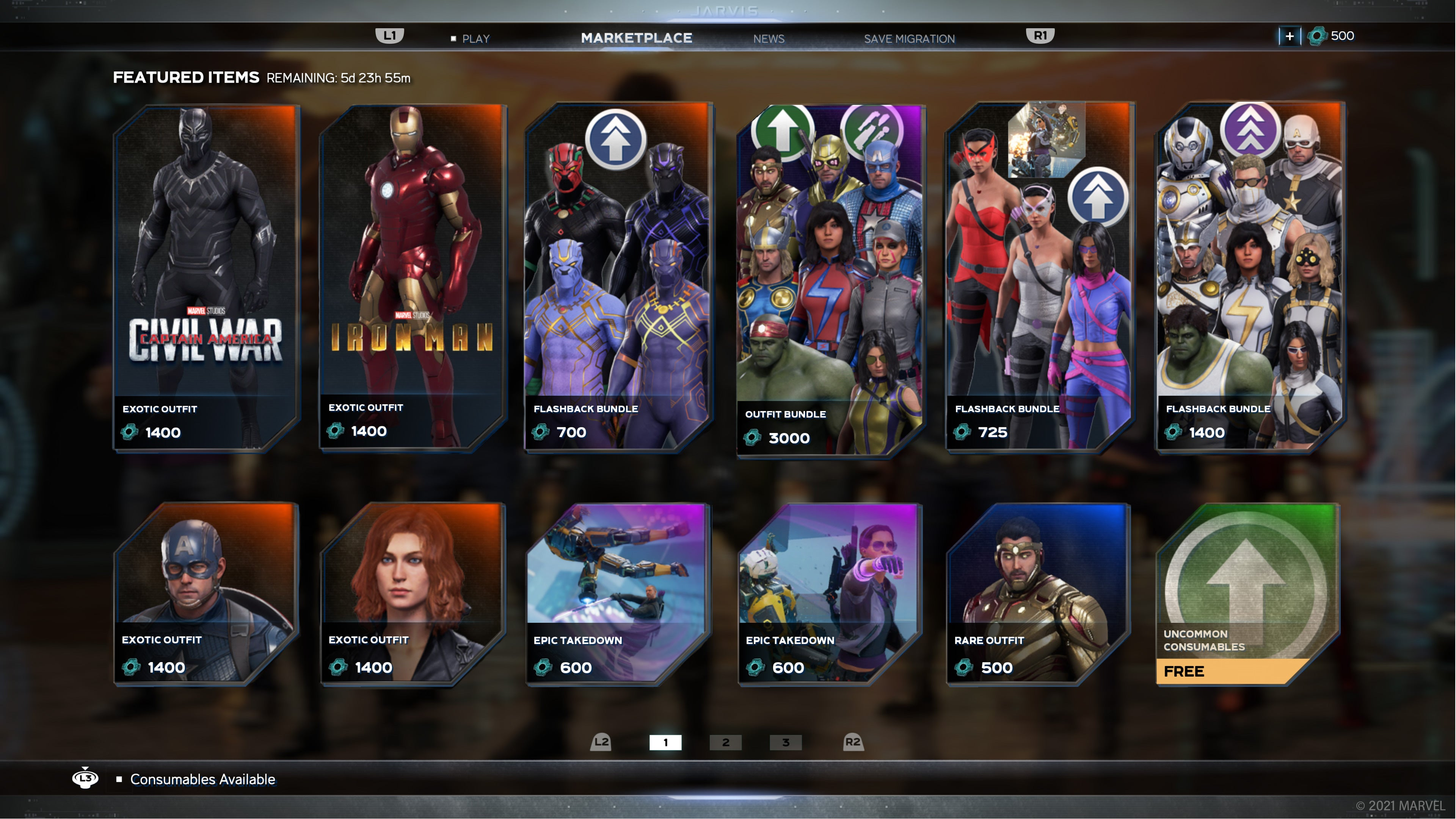 A screenshot of our In-Game marketplace for the upcoming week
