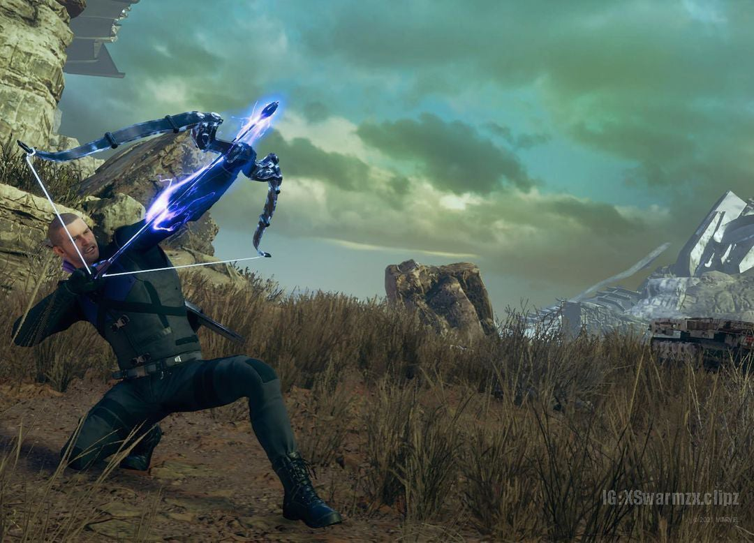 A screenshot of Hawkeye in a field. He's kneeling on the ground on one knee, propping himself up to loose an energized arrow into the sky. He grits his teeth – focused – as he readies to loose the arrow to an unseen foe.