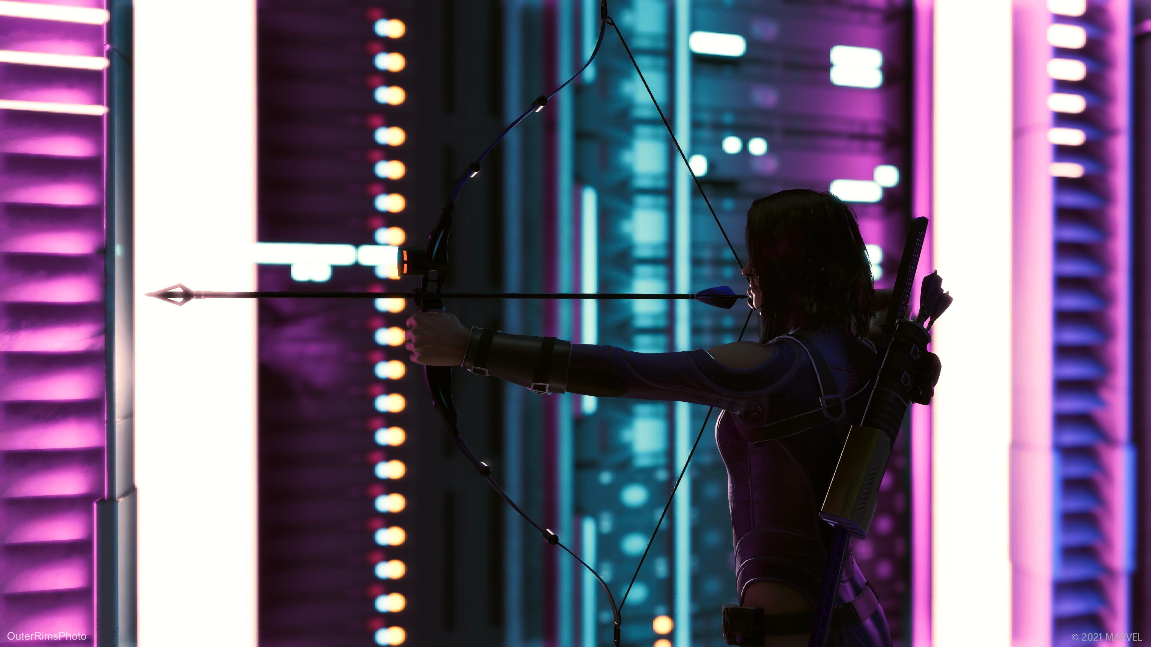 a photo mode screenshot of Kate-Hawkeye drawing her bow