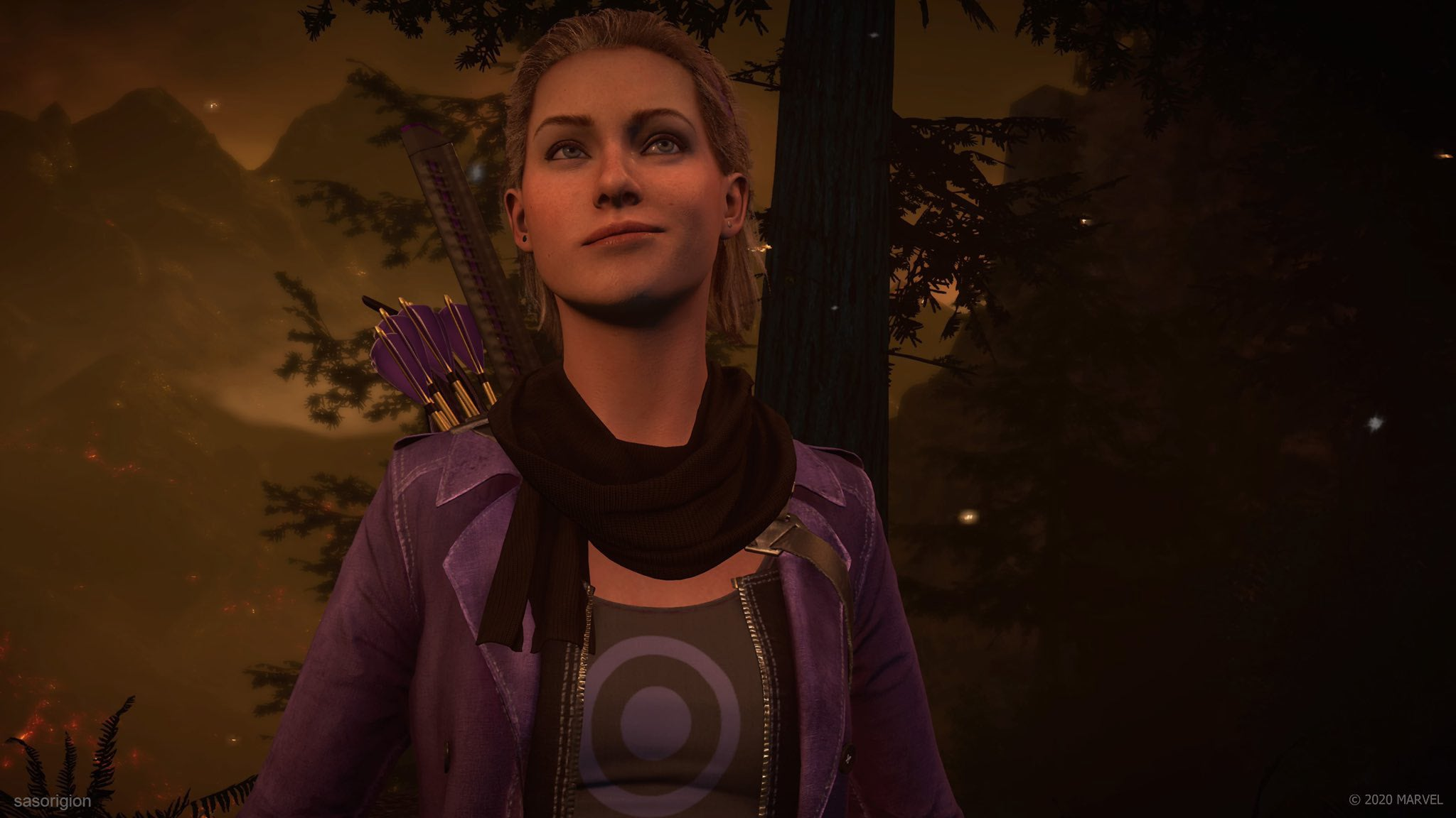 a photo mode screenshot of Kate-Hawkeye in a smoky forest