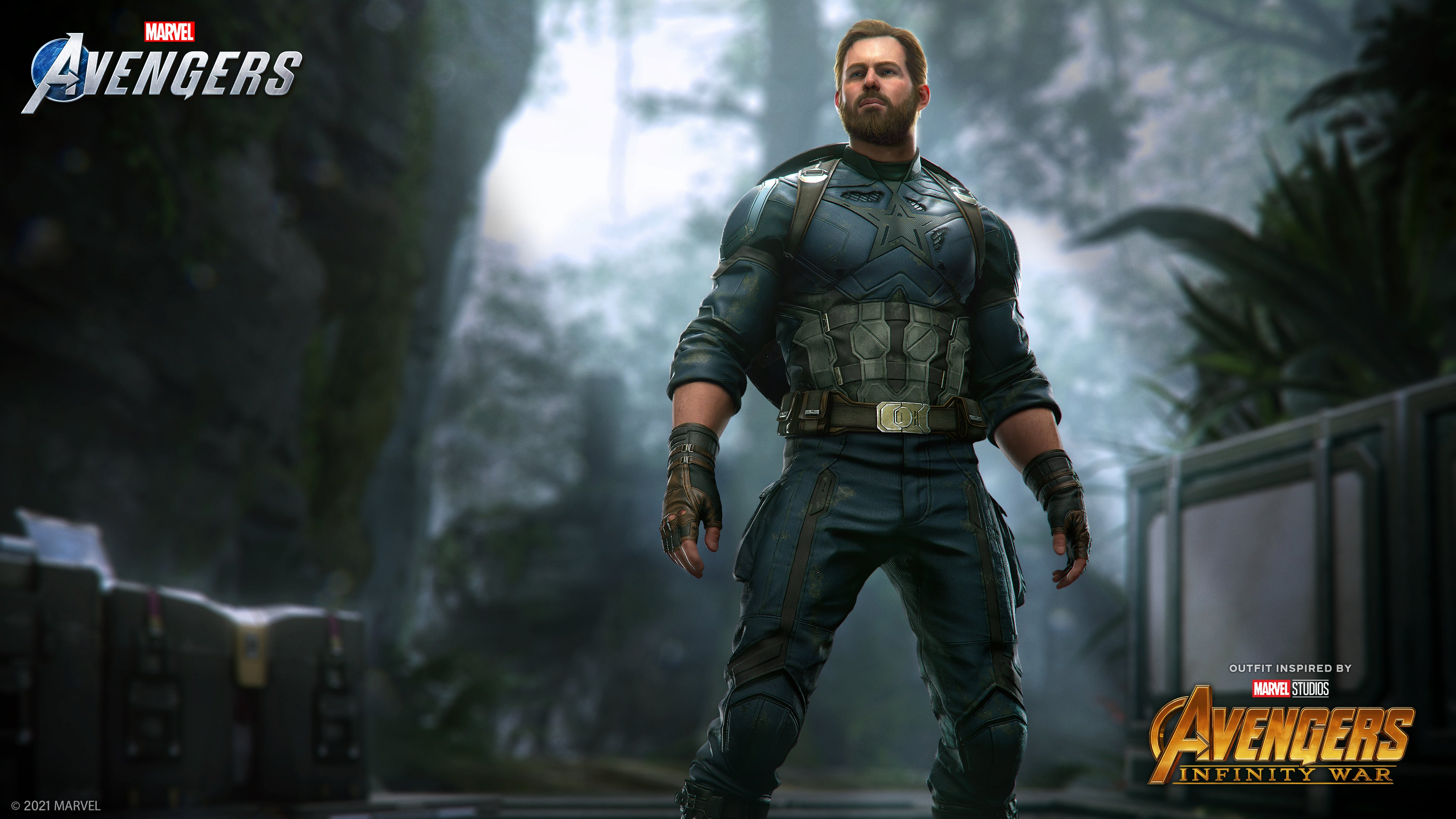Captain America stands in a jungle in his Infinity War Outfit