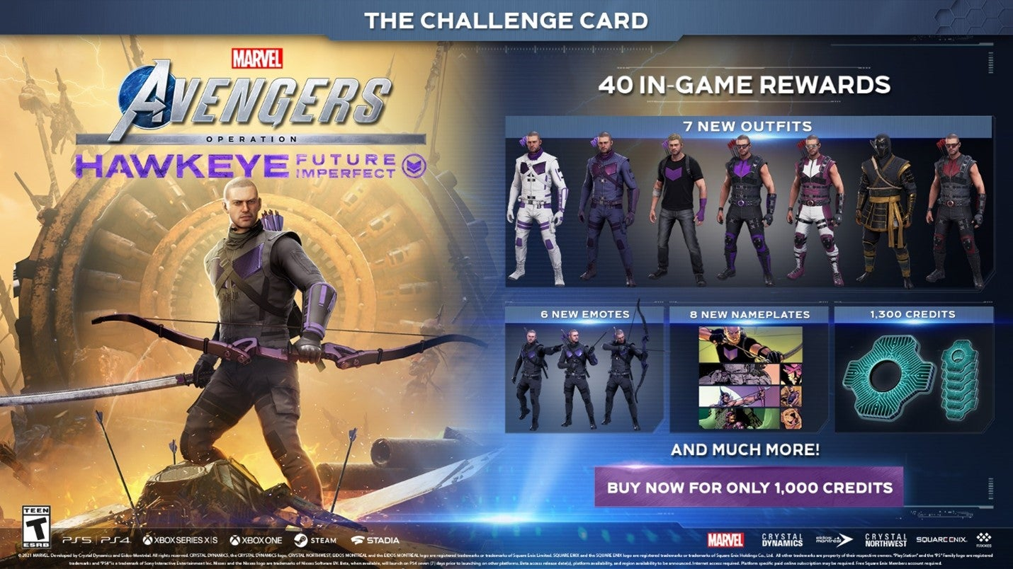 Depicts outfits and rewards associated with Hawkeye's in-game challenge card.
