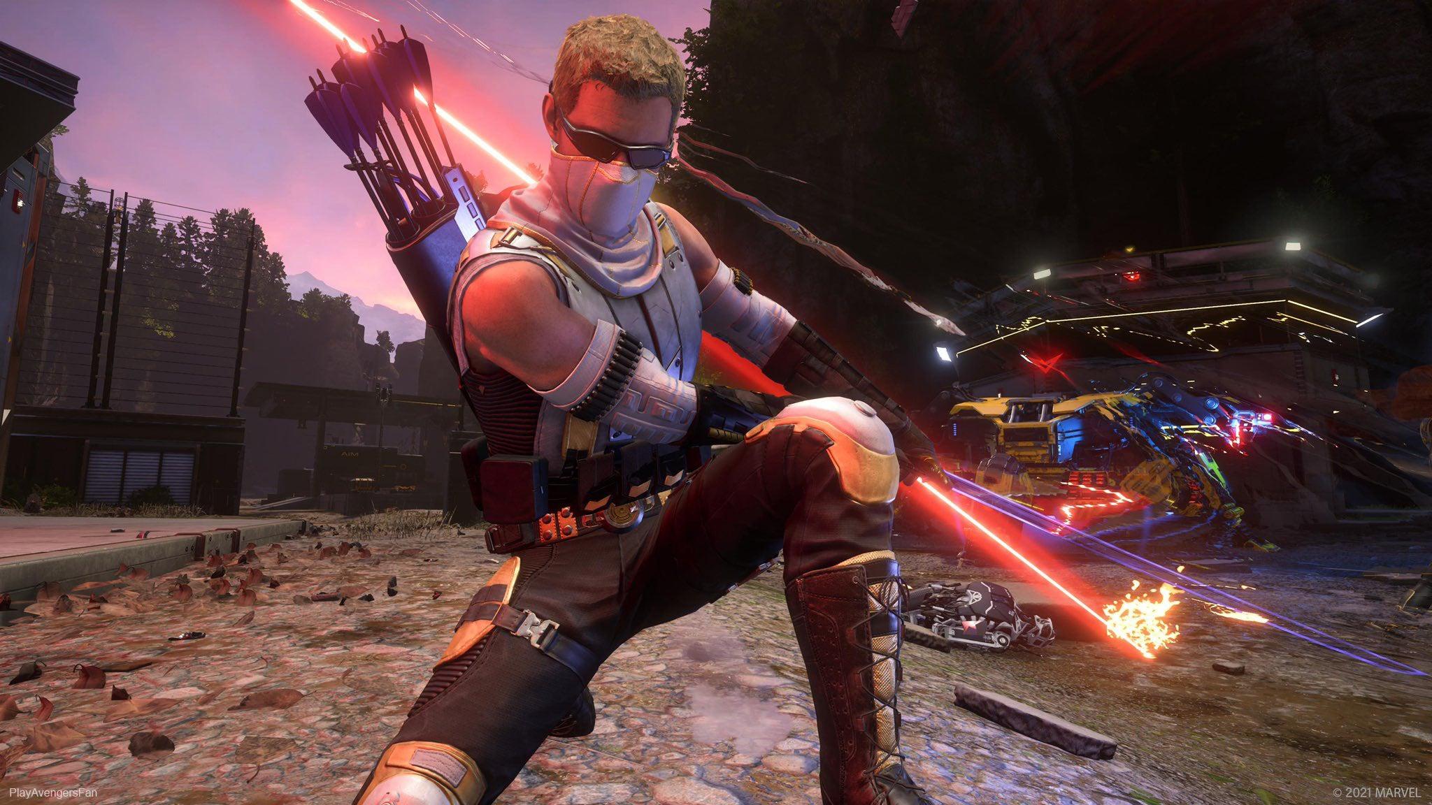 Fan art of Hawkeye slashing the air with a sword