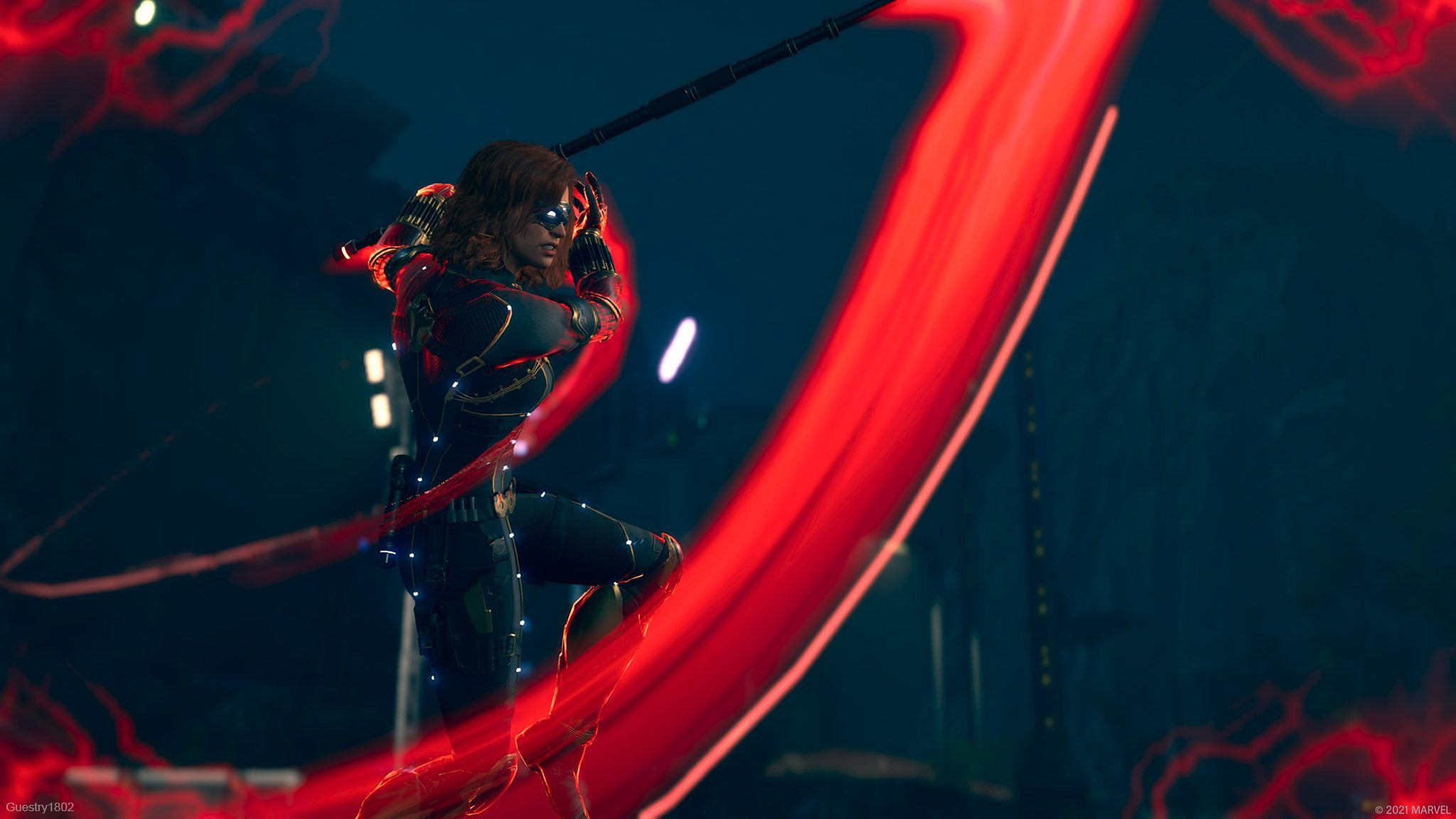 Black Widow strikes an enemy with her energized baton