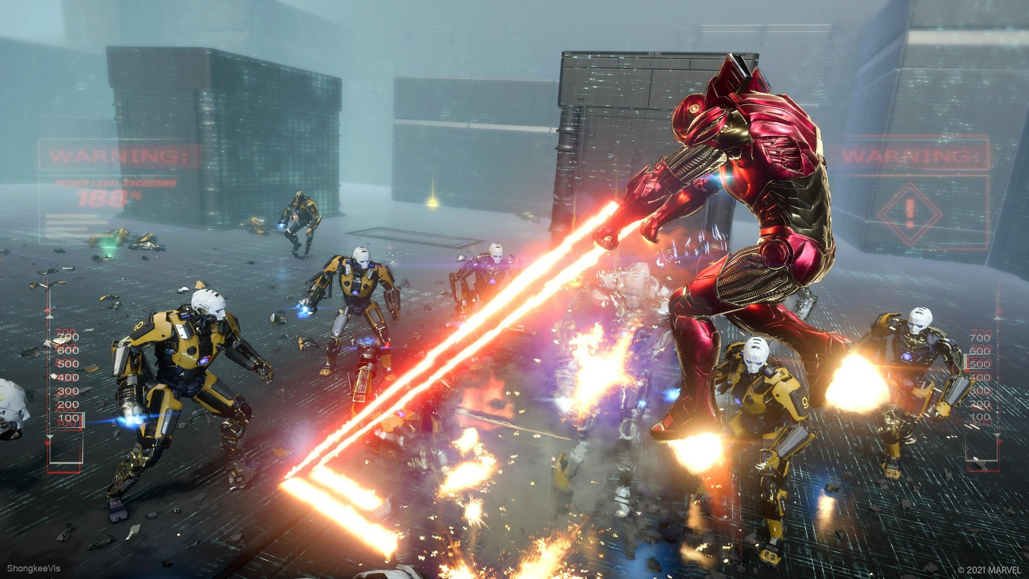 Iron Man unleashing his lasers on a group of AIM robots