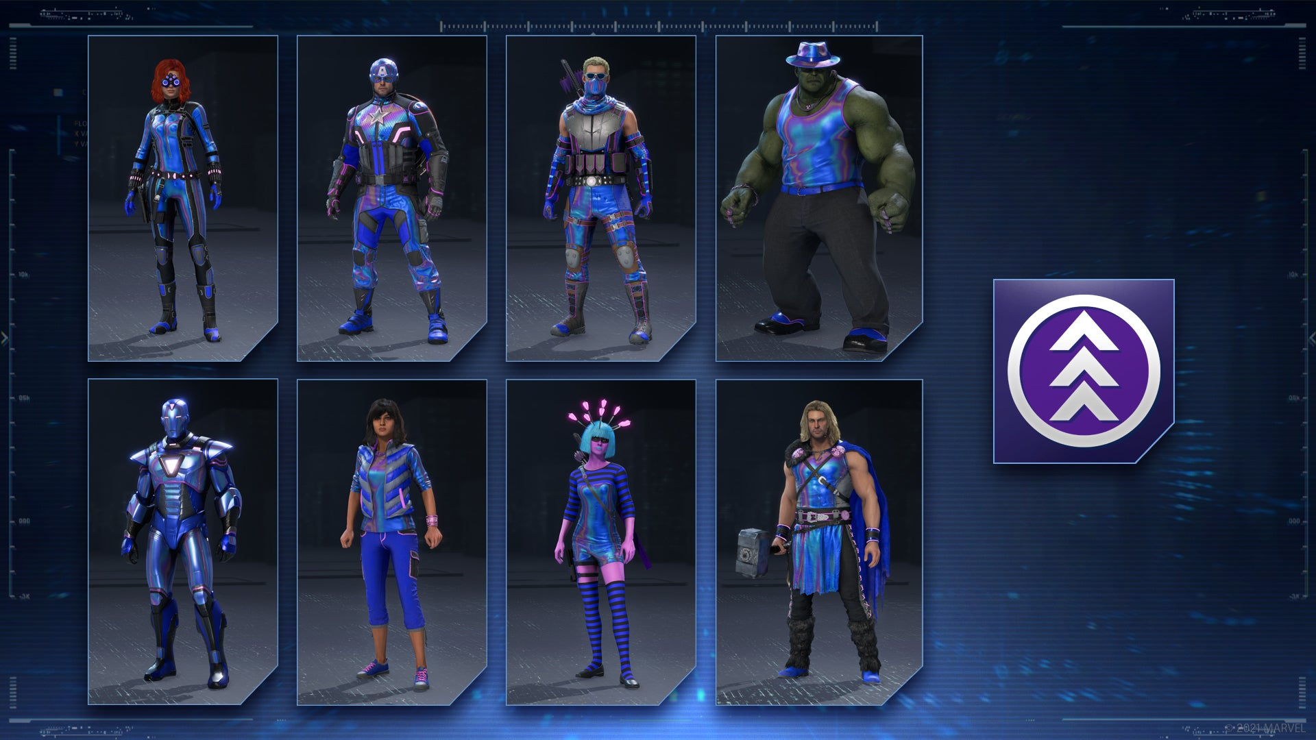 The Avengers in their Blue Holo outfit set