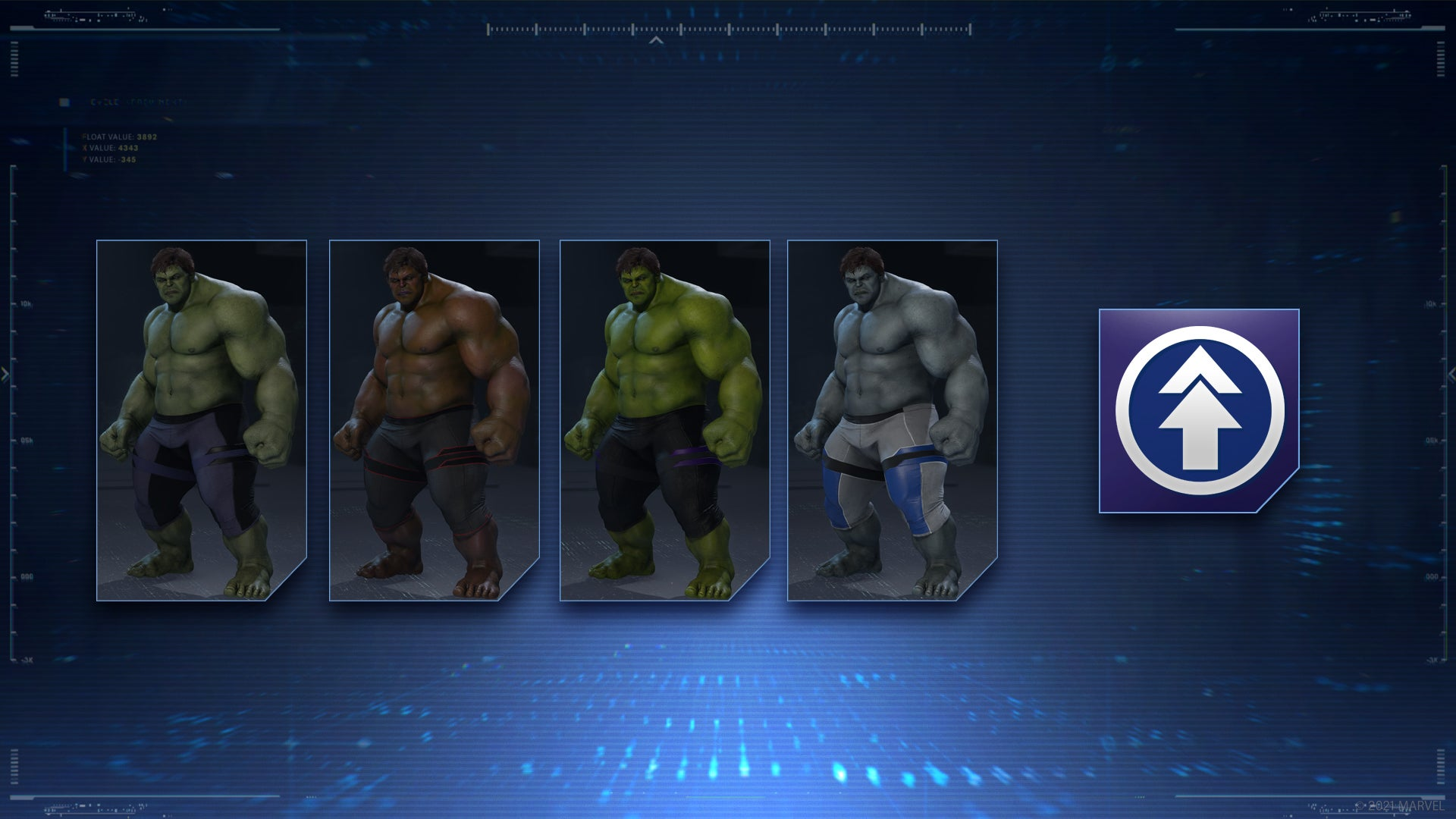 A bundle of Hulk's athletic outfit variants