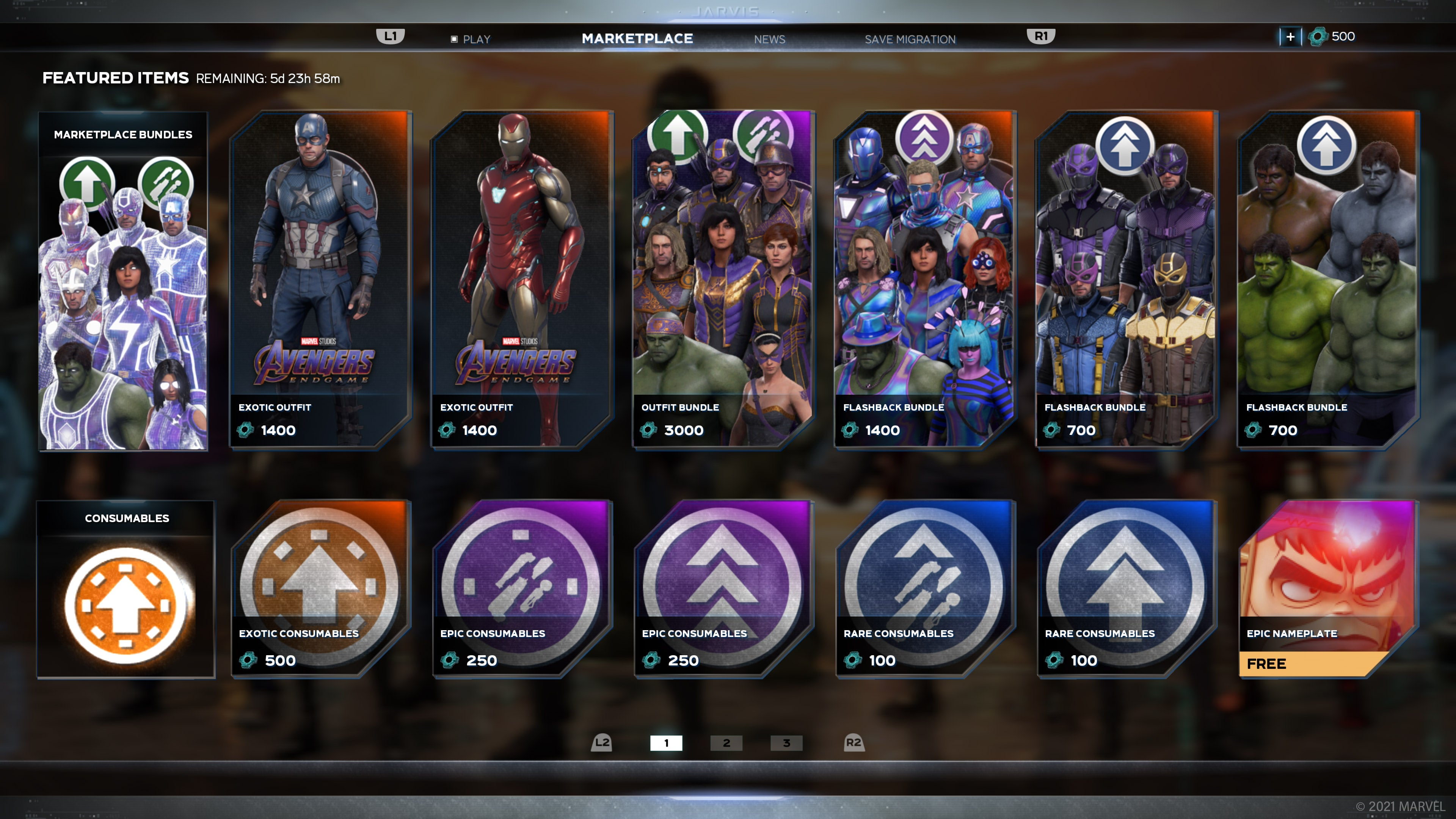 the Marvel's Avengers in-game Marketplace