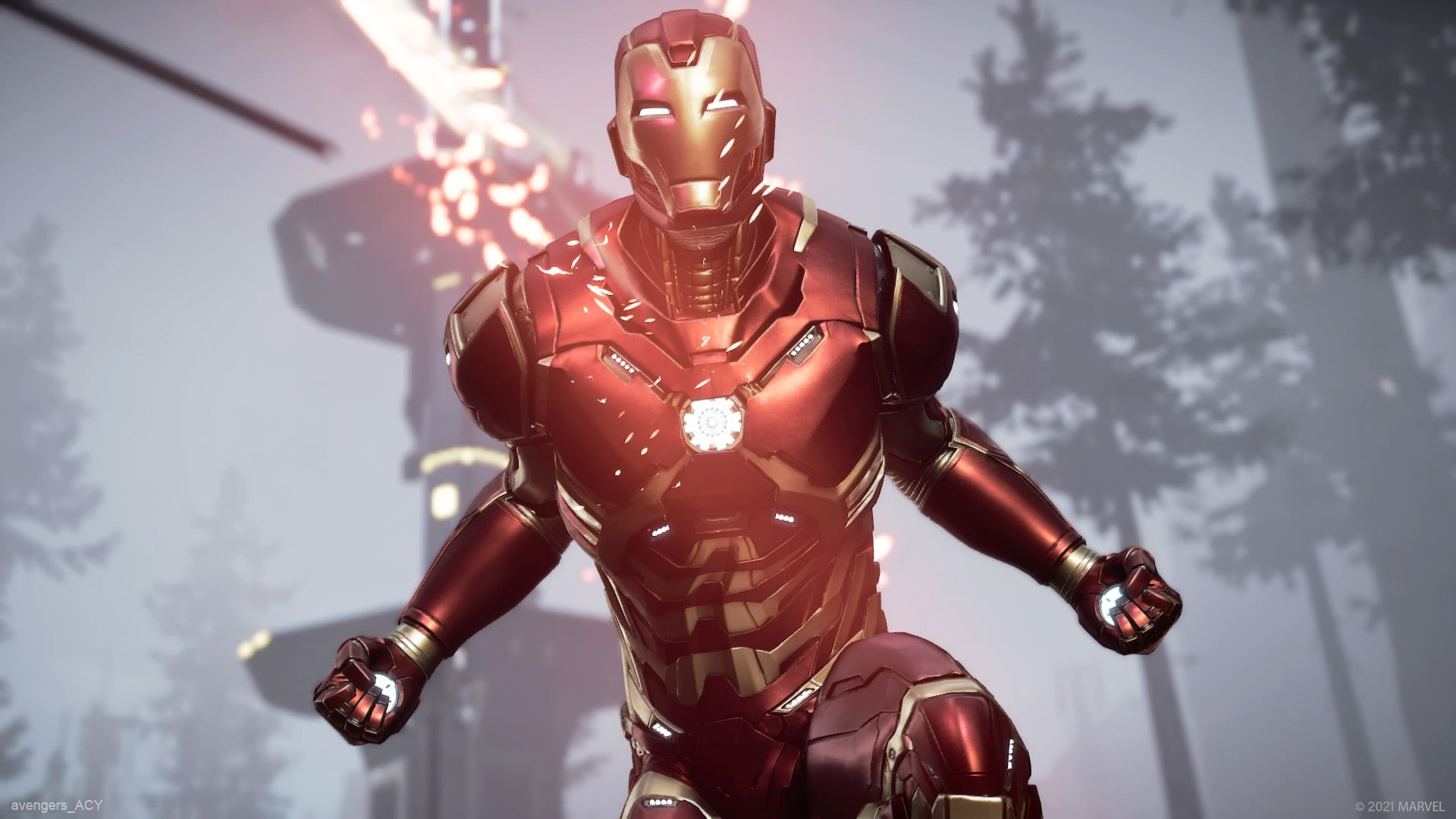 Iron Man ready to release energy from his suit's arc reactor